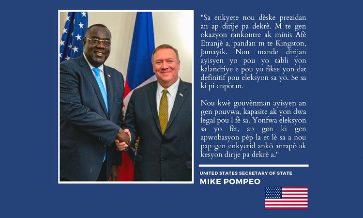 Sekretè Deta Ameriken Mesaj Eleksyon Mike Pompeo