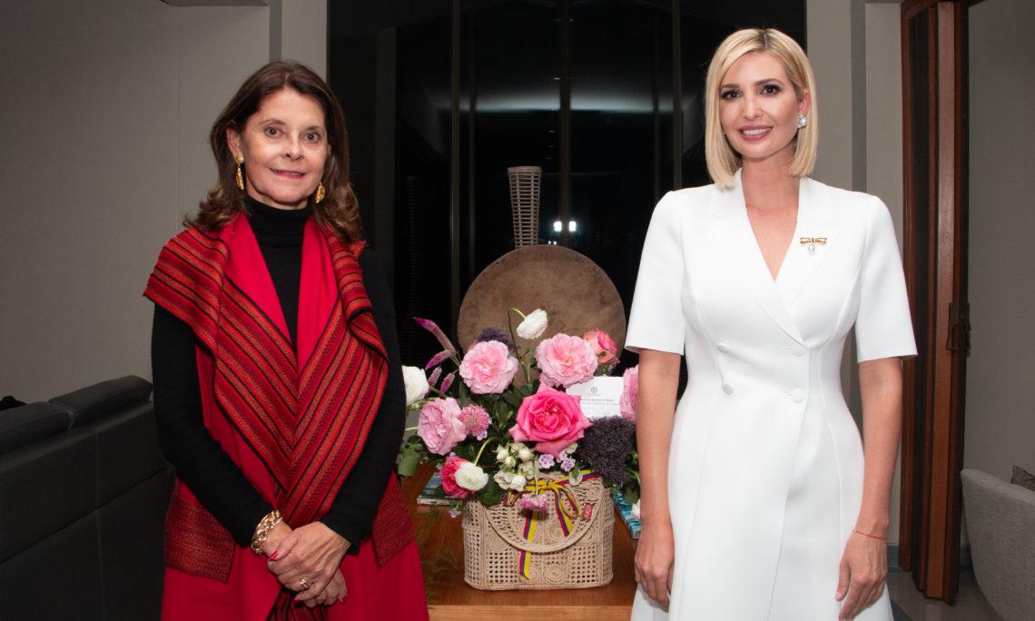 Colombian Vice President Marta Lucia Ramirez (left) greets Sepecial Presidential Advisor Ivanka Trump at Catam airport in Bogota.