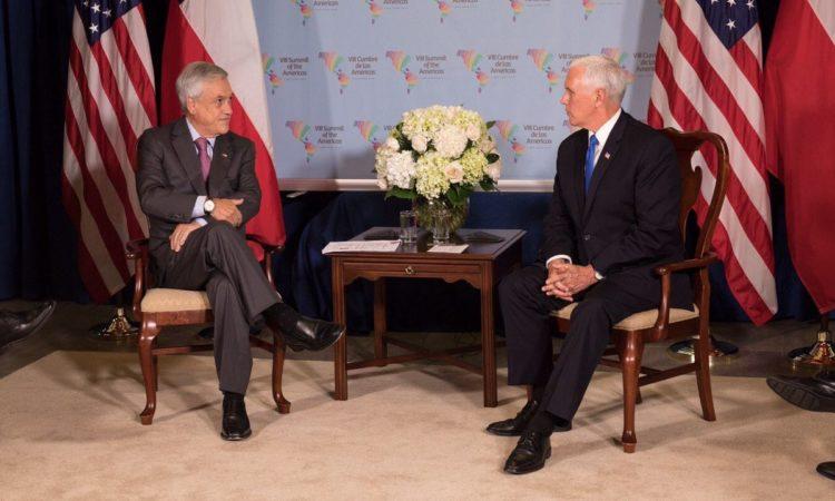 Vicepresidente Mike Pence se reúne con Presidente Piñera en Cumbre de las Américas