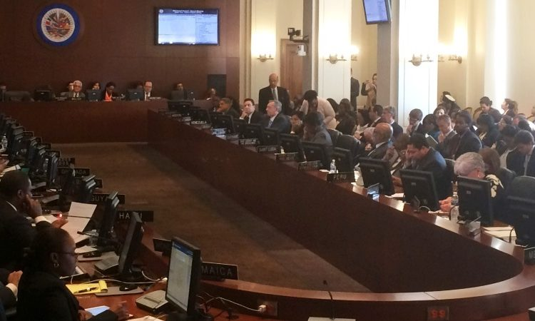 Delegates from the Americas analyze the current situation in Venezuela during an extraordinary session of the Organization of American States (OAS), Tuesday March 28, 2017 in Washington. (AP Photo/Luis Alonso Lugo)