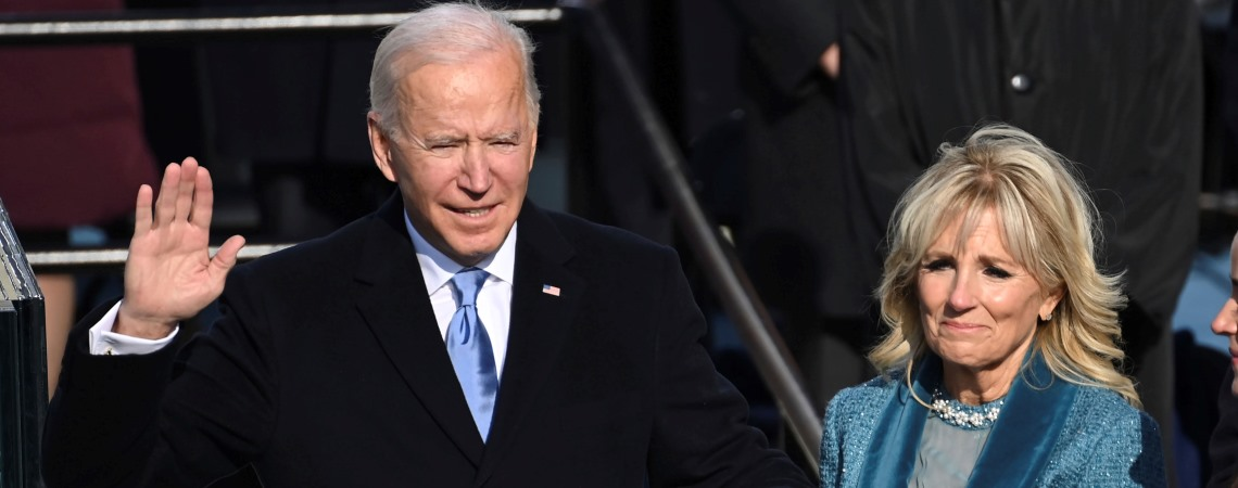 Joe Biden is sworn in as the 46th president of the United States by Chief Justice John Roberts as Jill Biden holds the Bible during the 59th Presidential Inauguration at the U.S. Capitol in Washington, Wednesday, Jan. 20, 2021. (Saul Loeb/Pool Photo via AP)