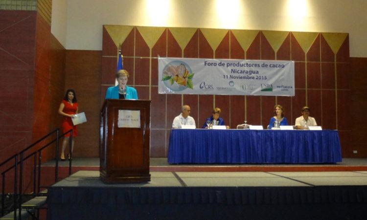 Ambassador Dogu behind the podium during her remarks
