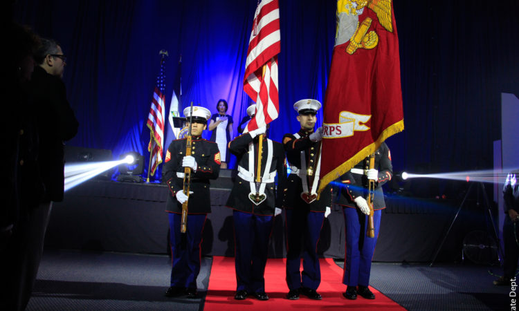 US Marines present the flags