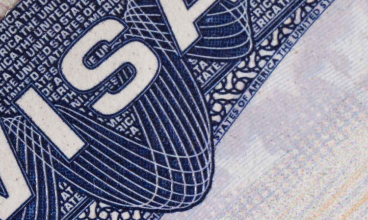 visa en un pasaporte