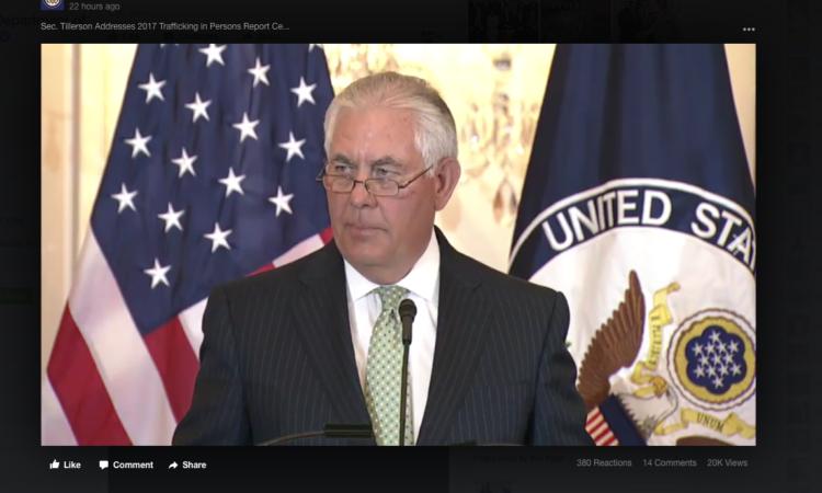 Secretario de Estado Rex Tillerson durante un discurso