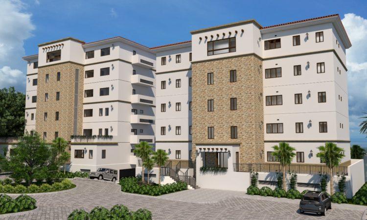 Dibujo arquitectónico de edificio de apartamentos de varios pisos