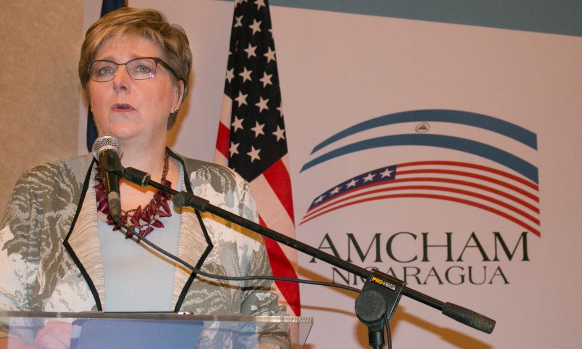 La Embajadora Dogu durante su discurso ante AMCHAM
