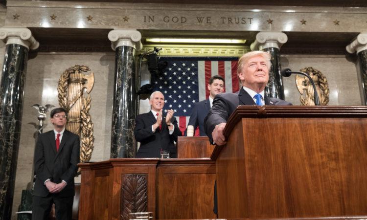 President Donald Trump durante un discurso