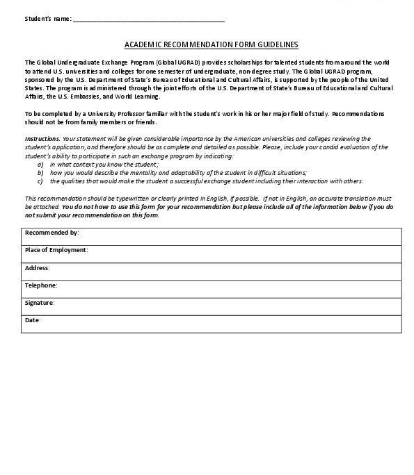 Ugrad2018 Recommendation Form Guidelines U S Embassy In Nicaragua
