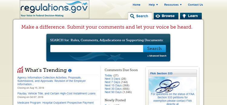 Screenshot from Regulations.gov