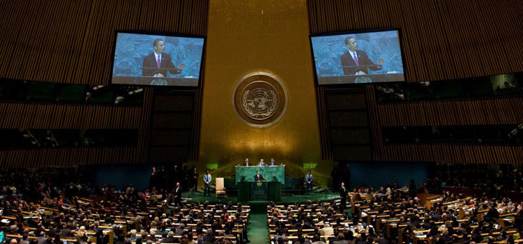 President Barack Obama delivers remarks at the UNGA Climate Summit 2014 in the General Assembly Hall at the United Nations in New York, N.Y., Sept. 23, 2014. (Official White House Photo by Lawrence Jackson)