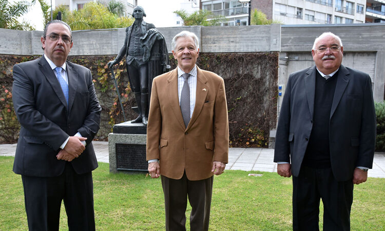 Amb. Kenn George with Dr. Marcelo Secco and Mr. Daniel Belerati at the U.S. Embassy Montevideo