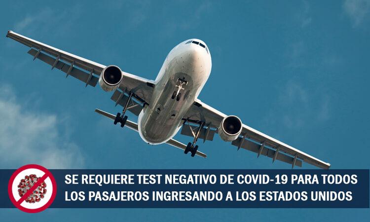 Test Negativo de COVID para ingresar a EE.UU.