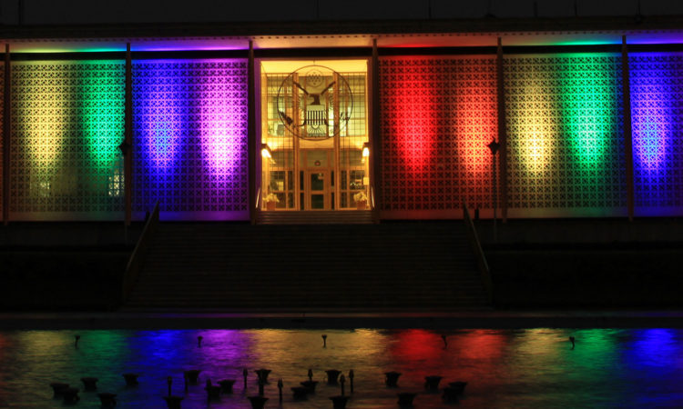 Embassy New Delhi lit in rainbow colors