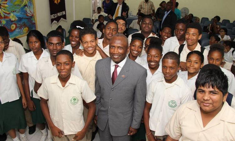 Ambassador Estrada with Diego Martin Central Secondary students