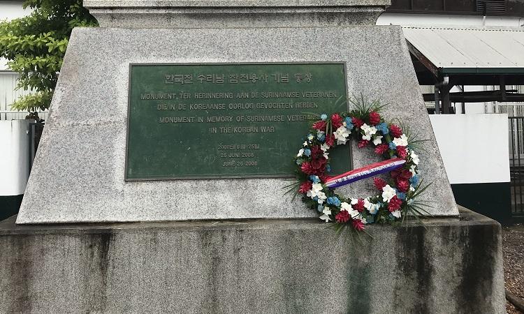 Wreath at monument