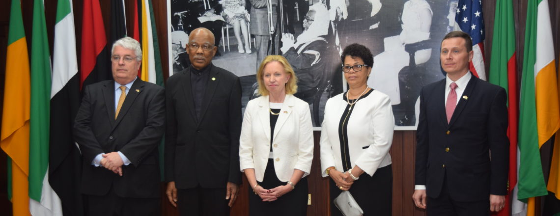 Ambassador Lynch and President Granger following the presentation of credentials