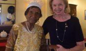 Ambassador Lynch congratulates Ms. Ivy, a centenarian