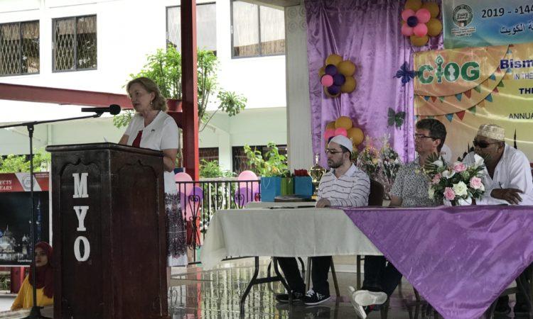 Female at podium