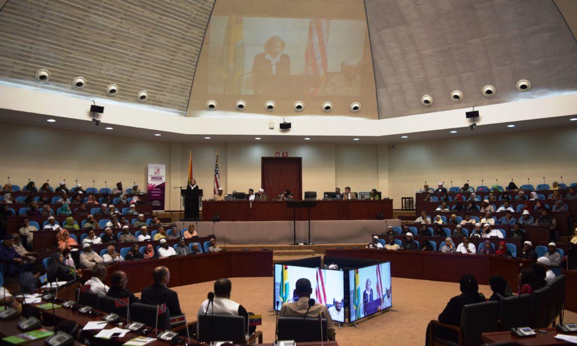 U.S. Ambassador addressing the International Peace Conference