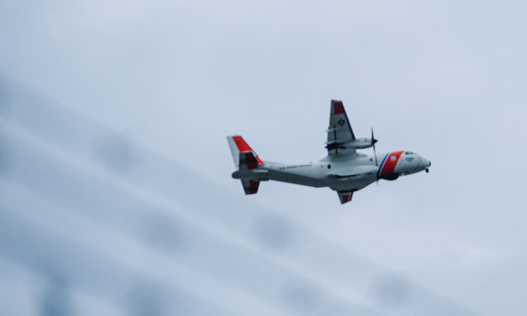 U.S. Coast Guard aircraft taking off