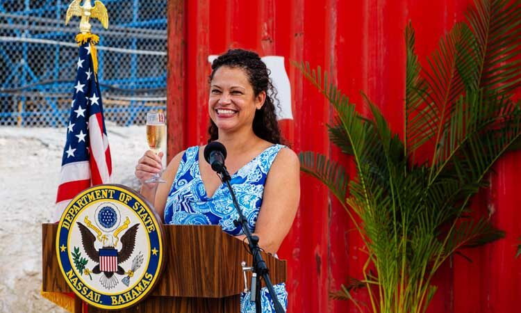 U.S. Chargé d'Affaires leads her guests in a toast to the enduring partnership between the United States and The Bahamas.