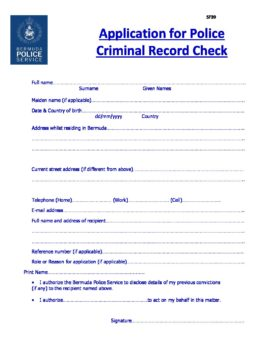 Police Clearance Application Form SF39   U S  Consulate
