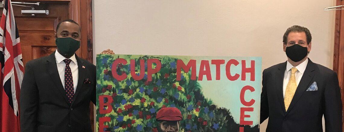 U.S. Consul General Presents Cup Match Portrait to the Premier