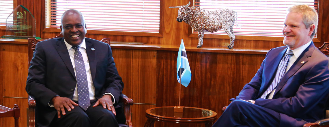 Ambassador Cloud Presents Credentials to President Masisi