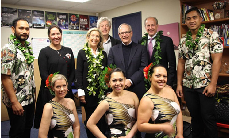Nancy and me with Hawaiian performers, Mayor Len Brown. (Photo Credit: U.S. Department of State).