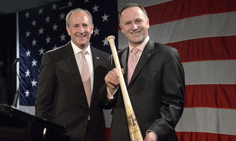 Prime Minister John Key with his new signed baseball bat (Photo Credit: State Dept).