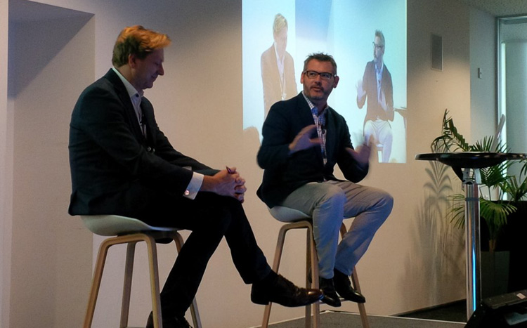 Mark D'Arcy (right) – VP and Chief Creative Officer, Facebook Creative Shop, with Vincent Heeringa, Publisher of Idealog. Photo credit: U.S. State Department.
