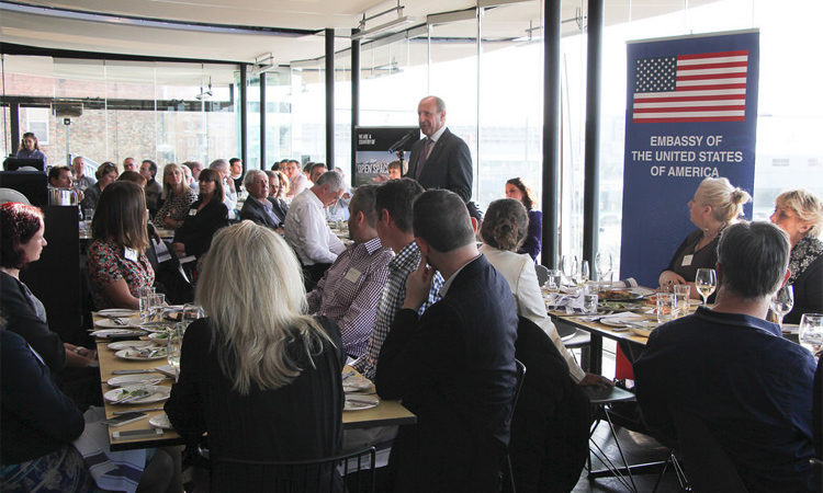 Ambassador Gilbert talks to an Auckland Business audience in 2015. Photo credit: U.S. Department of State.