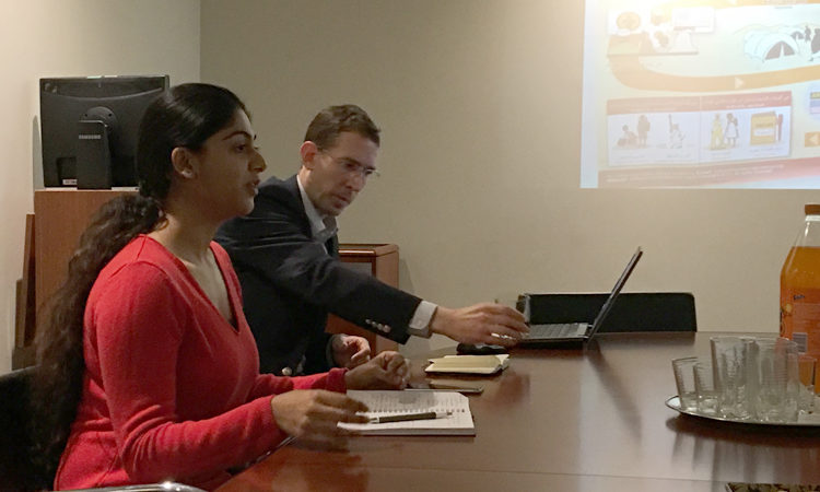 U.S. Consulate General Intern Shivani sharing her experiences working on refugee resettlement in Texas with the Auckland Youth Council. Photo credit: U.S. State Department.