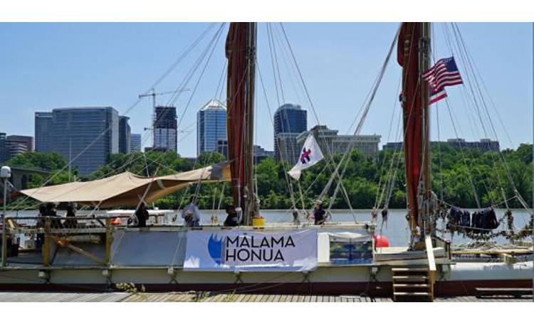 A view of the traditional Polynesian double-hulled canoe Hōkūleʻa docked at the Potomac Canoe Club, during the crew's visit to Washington, D.C. [State Department Photo]