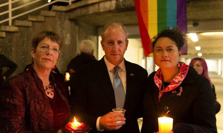 Wellington Mayor Celia Wade-Brown, U.S. Ambassador Mark Gilbert and Labour MP Louisa Wall at the vigil. Photo credit: U.S. Department of State.