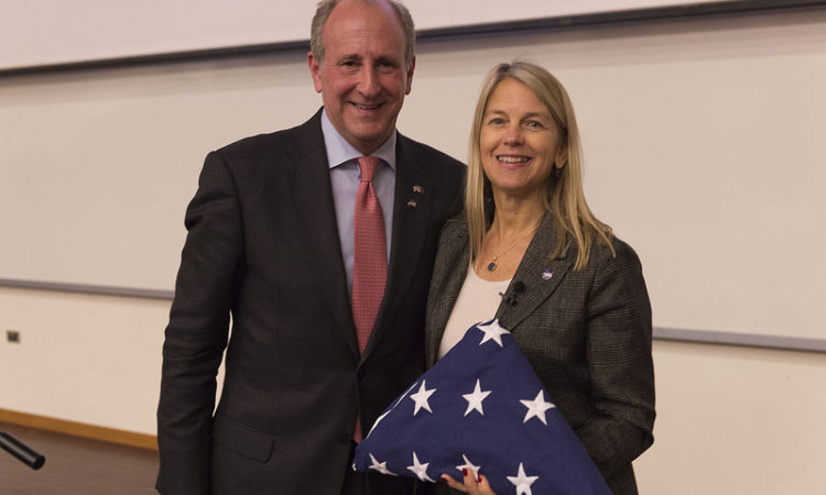 Dr Dava Newman with U.S. Ambassador Mark Gilbert.