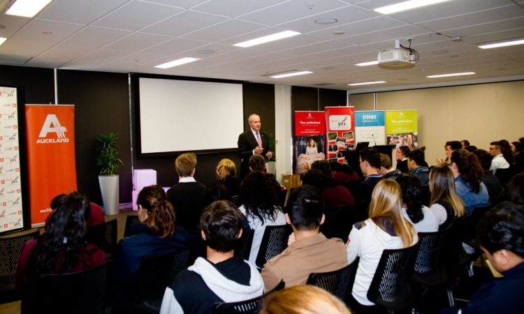 Ambassador Gilbert on the importance of communication in business to young kiwi entrepreneurs. Photo credit: Young Enterprise Trust