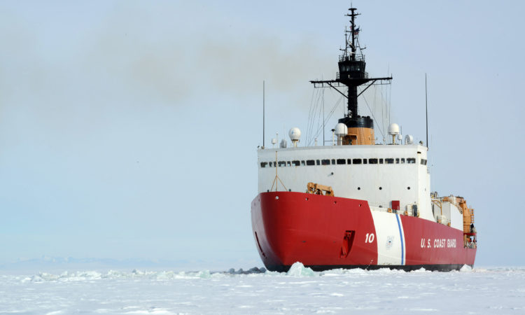 The Coast Guard Cutter Polar Star backs and rams through dense ice off the Antarctic coast, Jan. 15, 2017. The Polar Star and its crew work to establish a resupply channel through Antarctic ice to enable ships to reach the National Science Foundation's McMurdo Station. (U.S. Coast Guard photo by Chief Petty Officer David Mosley).