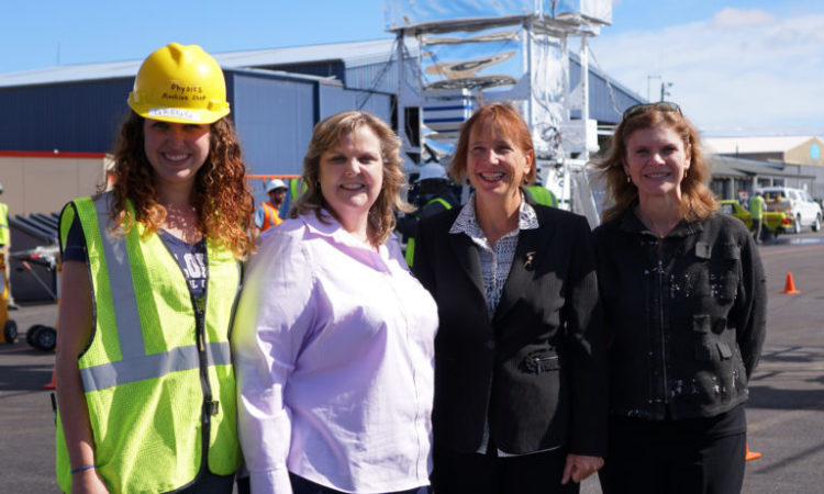 The acting U.S. Ambassador to New Zealand, Chargé d'Affaires Candy Green (second from right), visited Wanaka Airport March 23 to see NASA's Super Pressure Balloon Operations first-hand. With (left to right), Rachel Gregg, Engineering Physics undergraduate student, Colorado School of Mines; Debbie Fairbrother, Chief, NASA's Balloon Program Office; and Angela Olinto, University of Chicago, Principal Investigator of the Extreme Universe Space Observatory (seen in the background). (NASA/Bill Rodman)