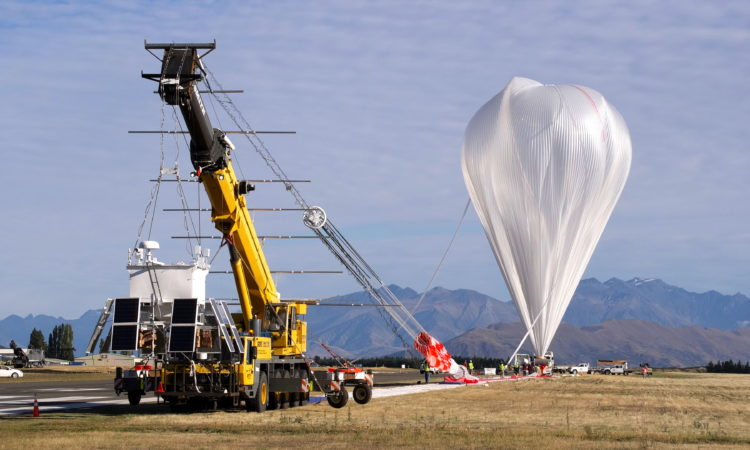 A NASA Super Pressure Balloon is shown here just before launch from Wanaka, New Zealand, March 26, 2015. Credits: NASA/Balloon Program Office