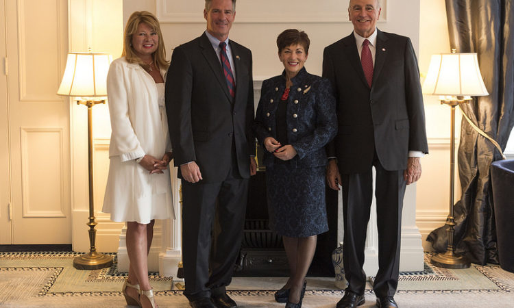 (right to left) Gail Brown, U.S. Ambassador Scott Brown, The Rt Hon Governor-General Dame Patsy Reddy and husband Sir David Gascoigne at Government House, Wellington. Photo credit: U.S. Department
