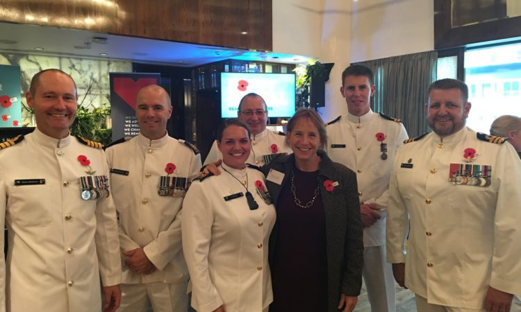 Chargé d'Affaires Candy Green with the crew of HMNZS Canterbury. Photo credit: U.S. State Department.