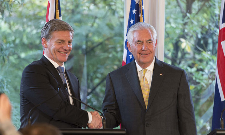 New Zealand Prime Minister, Bill English, with U.S. Secretary of State Rex Tillerson. Photo credit: U.S. Department of State.