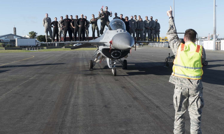 On top of a U.S. Air Force F16 in Christchurch. Photo credit: U.S. Department of State.