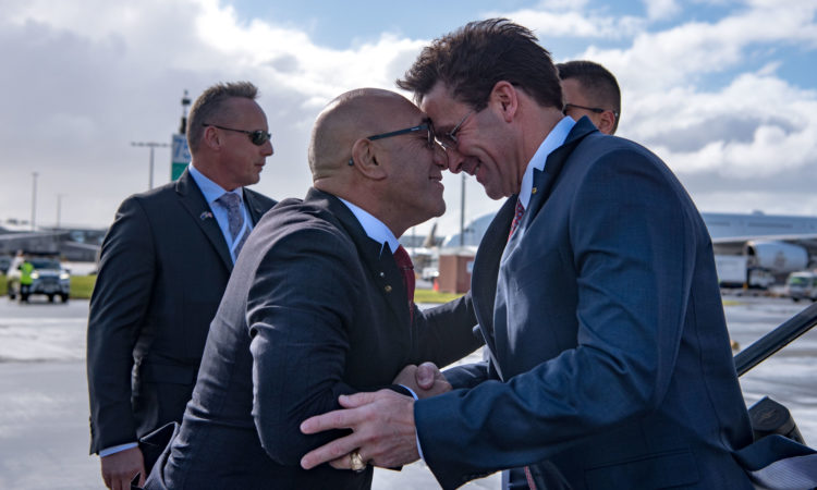 New Zealand Minister of Defence Ron Mark greets U.S. Secretary of Defense Dr. Mark T. Esper with a traditional mãori hongi greeting of NZ after arrival in Auckland, Aug. 5, 2019. (DoD photo by U.S. Army Sgt. Amber I. Smith).