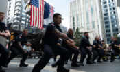The NZ Fire Service performing a moving Haka at the 9/11 commemoration service in Auckland. Photo credit: U.S. Department of State.