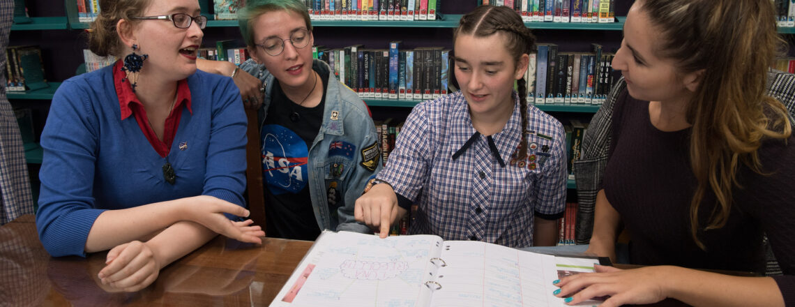 Southland Girls' High School pupil Sophie Ineson and classmates meet with NASA Interns.