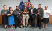 Ambassador Brown with High Commissioner Fisa Pihigia of Niue to NZ, and staff, back in 2019. The Niue High Commission are neighbors to the U.S. Mission in Wellington.