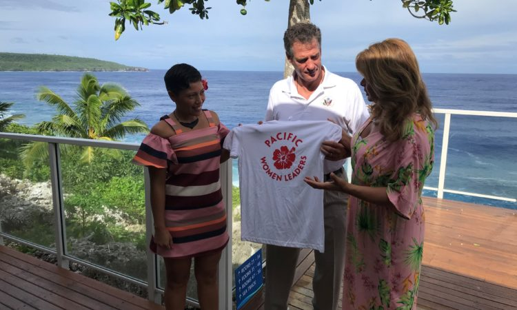 Fiafia bring presented with a Pacific Women Leaders shirt by Ambassador Brown and Mrs. Brown. Photo credit: U.S. Department of State.
